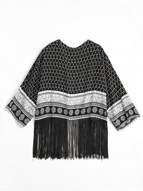 Blouson à rayures tribales imprimées - Noir L Mobile