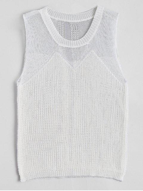 Débardeur en tricot à col rond - Blanc TAILLE MOYENNE Mobile