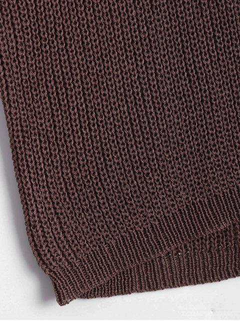 chic Round Collar Knitted Tank Top - COFFEE ONE SIZE Mobile