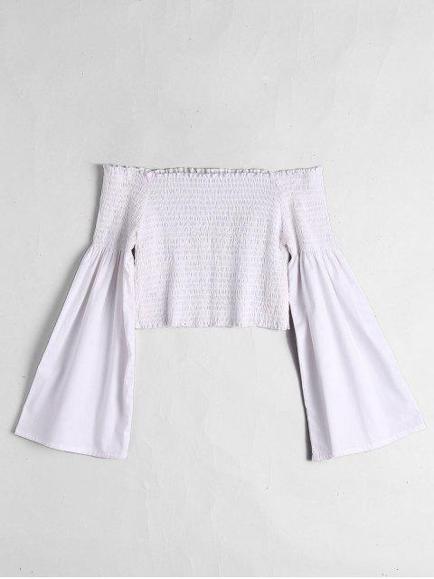 affordable Off The Shoulder Flare Sleeve Crop Blouse - WHITE S Mobile