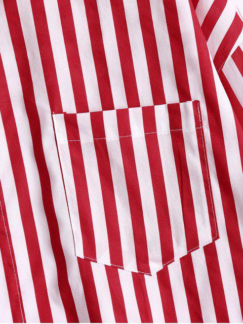 women's Button Up Drop Shoulder Striped Pocket Shirt - RED STRIPE S Mobile