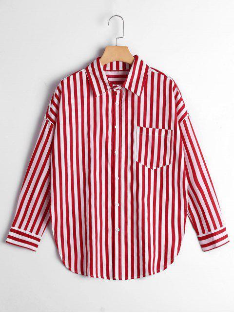 ladies Button Up Drop Shoulder Striped Pocket Shirt - RED STRIPE M Mobile