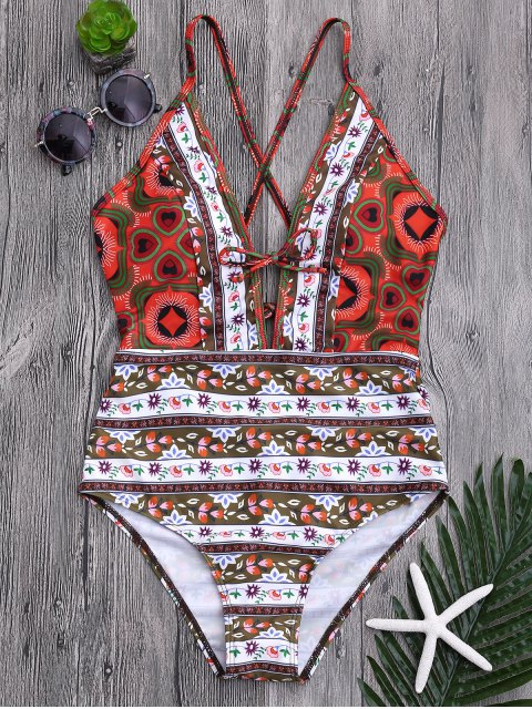 affordable Tribal Print Floral Backless Swimsuit - COLORMIX S Mobile