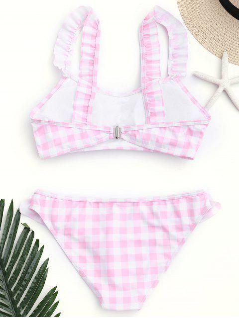 shop Checked Ruffled Bathing Suit - PINK AND WHITE M Mobile