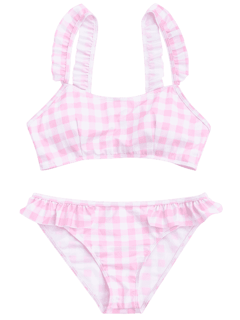 shops Checked Ruffled Bathing Suit - PINK AND WHITE S Mobile