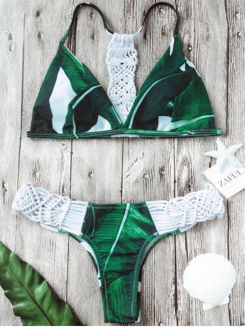 women's Crochet Panel Palm Leaves Bikini Set - WHITE M Mobile