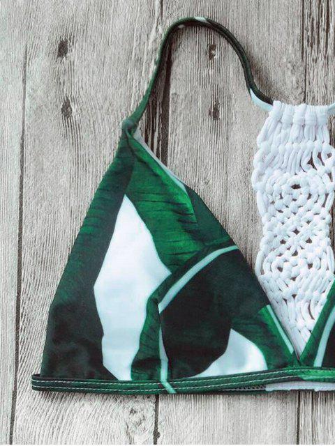 lady Crochet Panel Palm Leaves Bikini Set - WHITE L Mobile