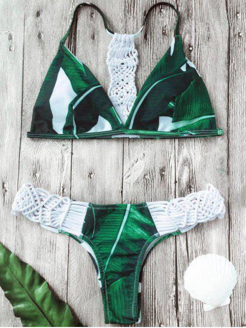 Ensemble Bikini Imprimé à Feuilles de Palmier à empiècement en Crochet - Blanc XL Mobile
