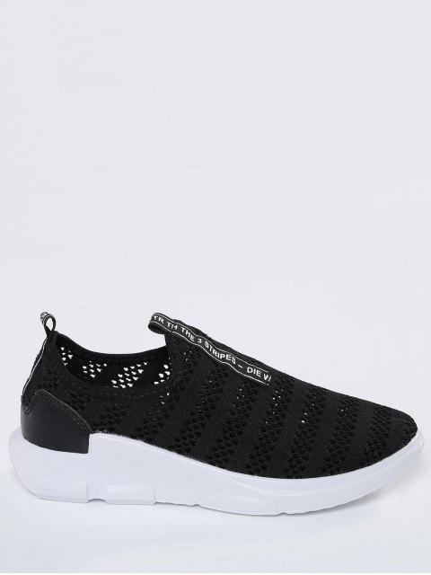 shop Breathable Mesh Letter Pattern Athletic Shoes - BLACK 38 Mobile