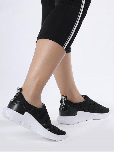 latest Breathable Mesh Letter Pattern Athletic Shoes - BLACK 40 Mobile