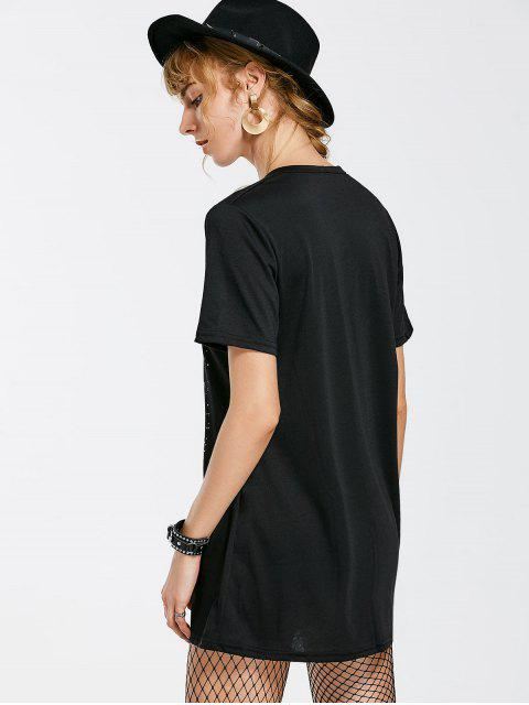 Casual Graphic Choker Tee Dress - Noir XL Mobile