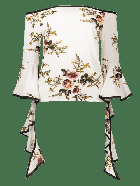 womens Off The Shoulder Spiral Sleeve Floral Blouse - FLORAL M Mobile