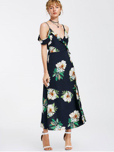 chic Floral Cold Shoulder Wrap Maxi Dress - PURPLISH BLUE XL Mobile