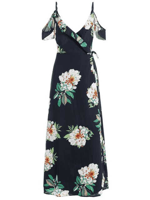 Robe Maxi Florale Enveloppante Épaules Nues - Bleu Violet XL Mobile