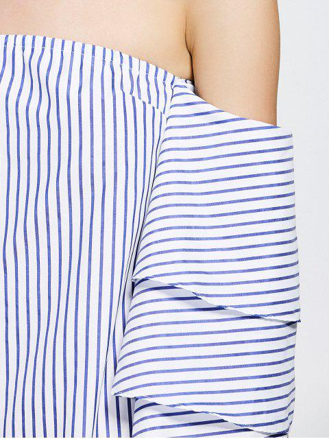 buy Tiered Flare Sleeve Striped Dress - STRIPE XL Mobile