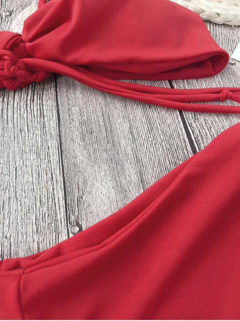 women's Adjustable Multi Way Strappy Knot Bikini Set - RED M Mobile