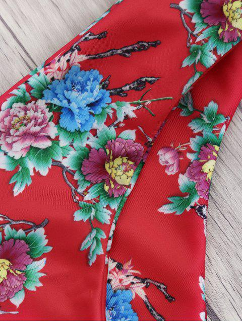 fancy Square Neck Wide Straps Floral Bikini Set - RED M Mobile