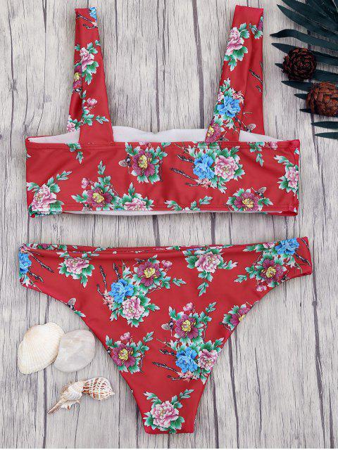 unique Square Neck Wide Straps Floral Bikini Set - RED S Mobile