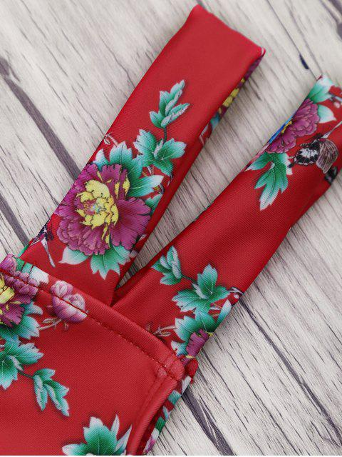 affordable Floral Print Knot Banded Bikini Set - RED M Mobile