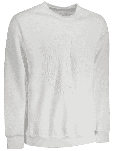 best Embossed Graphic Crewneck Mens Sweatshirt - WHITE 3XL Mobile