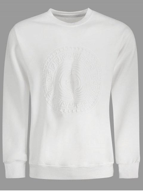 online Embossed Graphic Crewneck Mens Sweatshirt - WHITE 2XL Mobile