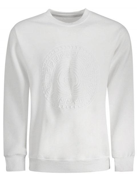 hot Embossed Graphic Crewneck Mens Sweatshirt - WHITE L Mobile