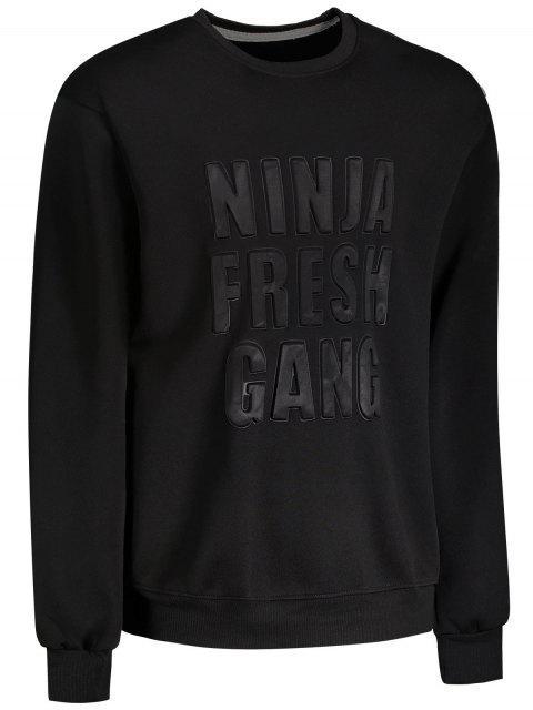 shop Embossed Slogan Crewneck Mens Sweatshirt - BLACK XL Mobile
