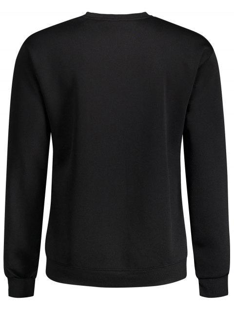 Sweat à capuche en peau à litière Slogan Crewneck - Noir XL Mobile