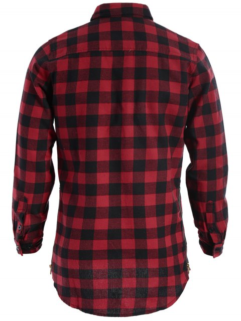 fancy Mens Casual Checked Shirt - RED AND BLACK XL Mobile