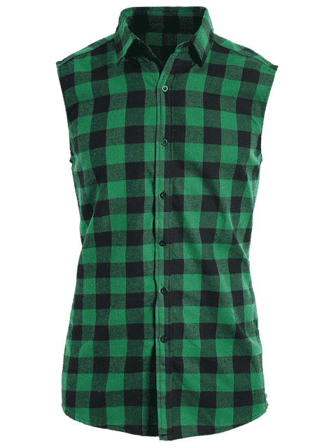 affordable Checked Twill Mens Sleeveless Shirt - GREEN 2XL Mobile