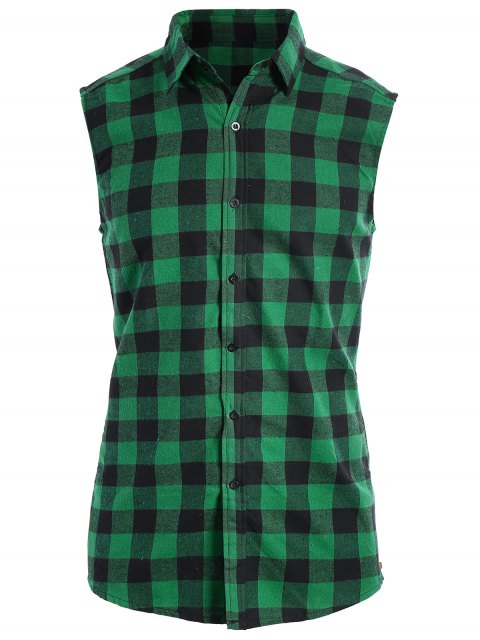 buy Checked Twill Mens Sleeveless Shirt - GREEN XL Mobile