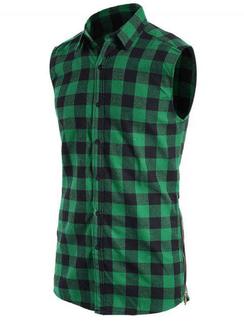 Chemise sans manches à manches contrastées - Vert L Mobile