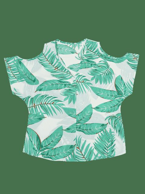 Top Floral à Col V Des Épaules Nues - Blanc M Mobile