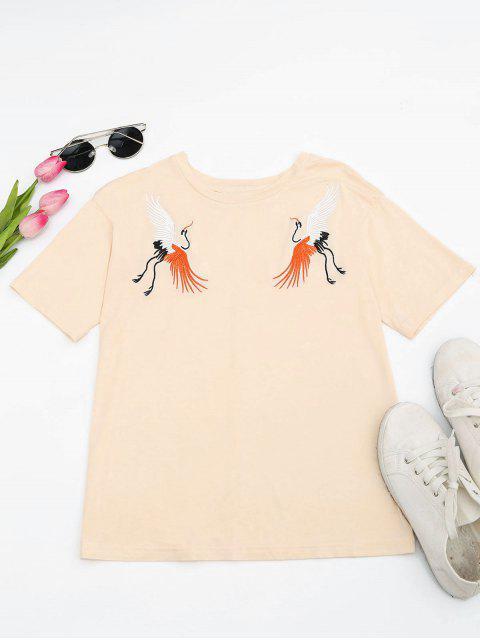 Camiseta bordada grúa del algodón - Luz amarilla S Mobile