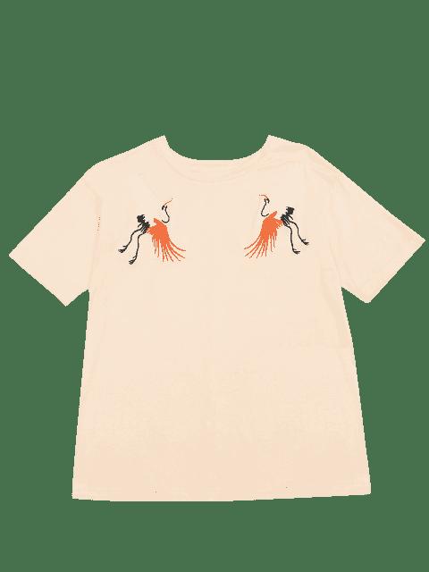 T-shirt brodé à la grille coton - Jaunâtre L Mobile