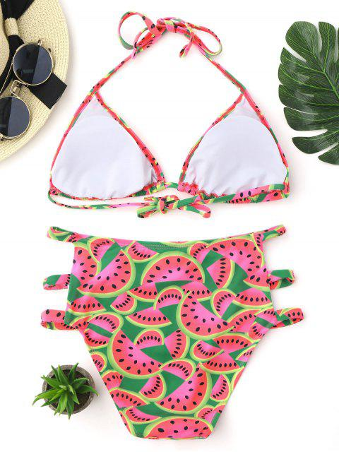 ladies Watermelon Print Cutout High Waisted Bikini Set - COLORMIX M Mobile