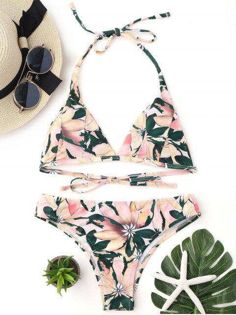online Floral Print Halter Padded Bikini Set - MULTICOLOR L Mobile