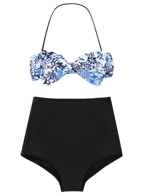 hot Bow Bandeau High Waisted Bikini Set - WHITE AND BLACK AND BLUE L Mobile