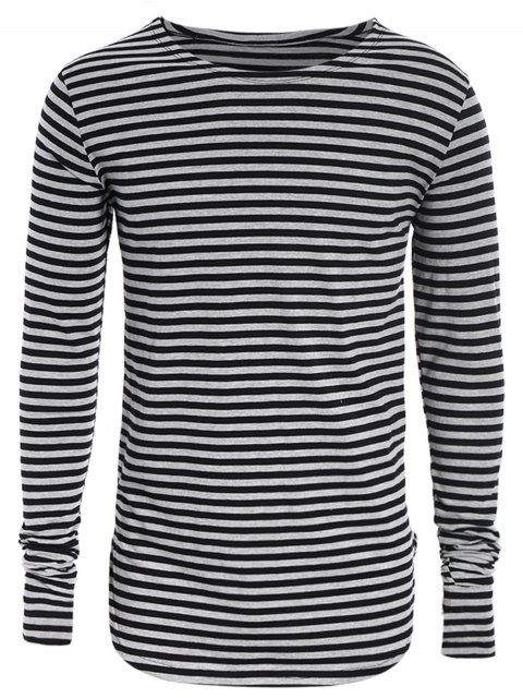 fancy Striped Long Sleeve Mens Jersey Top - BLACK AND GREY 3XL Mobile
