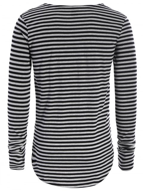 sale Striped Long Sleeve Mens Jersey Top - BLACK AND GREY XL Mobile