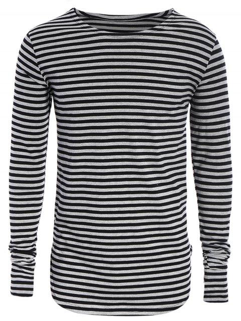 Männer Jersey-Oberseite mit  langen Hülsen und Streifenmuster - Schwarz & Grau L Mobile