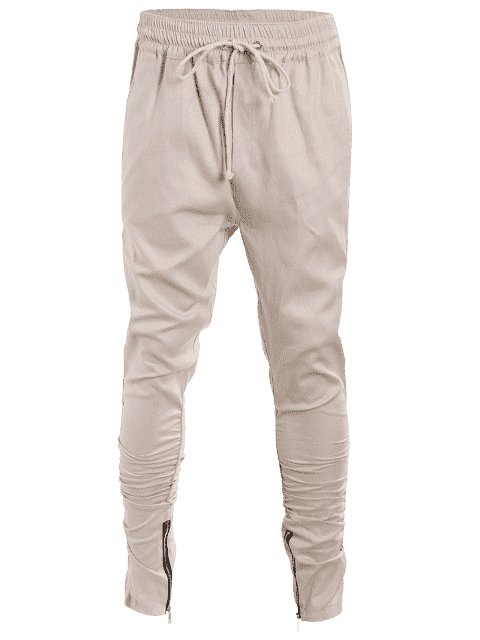 Slim Fit Drawstring Mens Twill Pants - Kaki XL Mobile