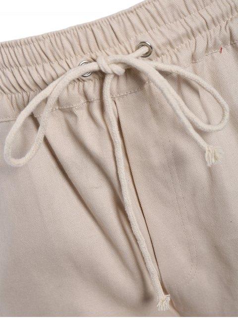 women's Slim Fit Drawstring Mens Twill Pants - KHAKI L Mobile
