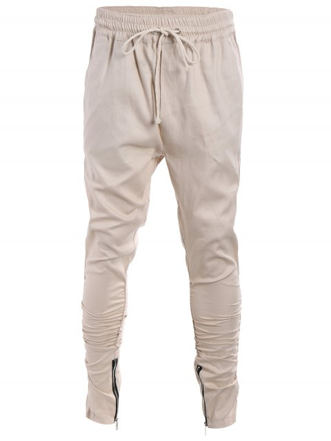 women's Slim Fit Drawstring Mens Twill Pants - KHAKI L Mobile