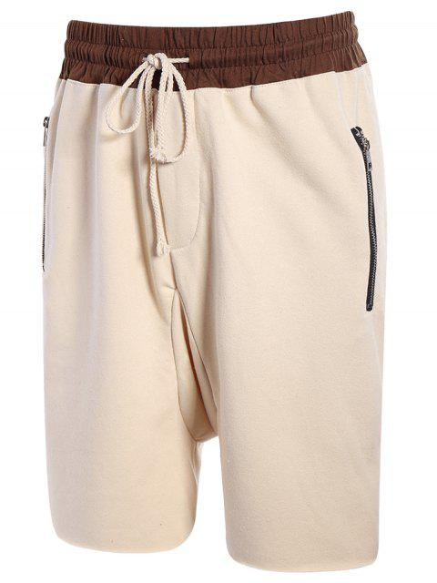 lady Zip Pockets Jogger Terry Sweat Shorts - KHAKI L Mobile