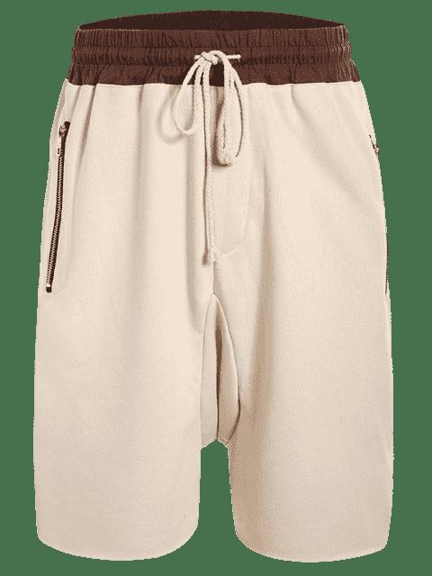Zip Pockets Jogger Terry Sweat Shorts - Kaki M Mobile