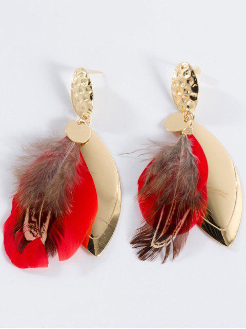 Boucles d'oreilles en plomb en alliage embellie en plumes - Rouge  Mobile