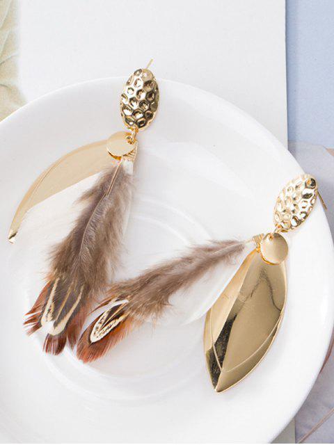 Boucles d'oreilles en plomb en alliage embellie en plumes - Blanc  Mobile