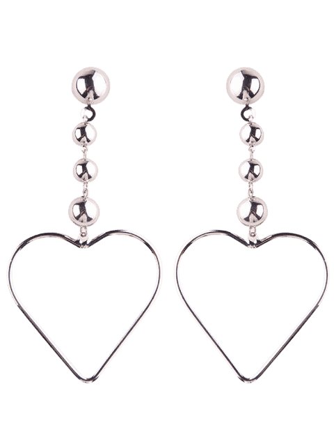 new Hollow Out Heart Drop Earrings - SILVER  Mobile