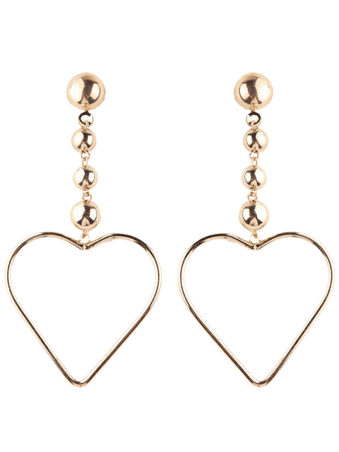 online Hollow Out Heart Drop Earrings - GOLDEN  Mobile